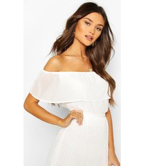 chiffon off-the-shoulder mix and match ruche top, ivoor