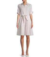 calvin klein women's checker belted shirtdress - khaki - size 8