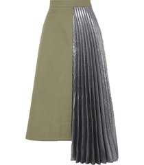 hermes asymmetric pleated cotton and lamé midi skirt