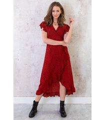 cheetah jurk midi rood