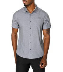 7 diamonds painted memory short sleeve performance button-up shirt, size small in slate at nordstrom