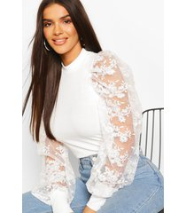 embroided sleeve top, ivory