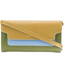 marni bellows wallet with shoulder strap - green