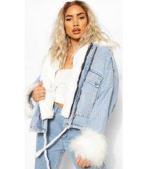 oversized spijkerjas met faux fur zoom, lichtblauw