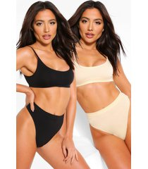 2 pack seamfree scoop bralette, multi