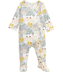 infant girl's nordstrom baby print footie, size preemie - white