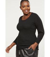 lane bryant women's ribbed button-sleeve sweater 10/12 black