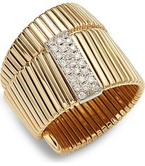 14k gold & diamond embossed twist ring