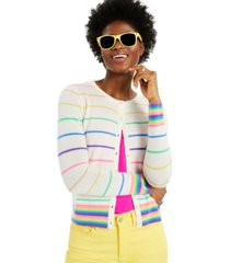 cashmere candy stripe print long-sleeve cardigan, created for macy's