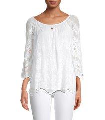 le marais women's silk lace top - white - size s