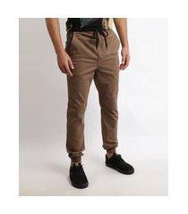 calça de sarja masculina jogger slim com bolsos kaki
