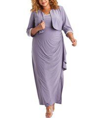 r & m richards plus size embellished gown & jacket