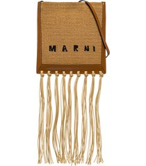 marni crossbody bag in raffia and leather with fringes
