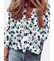 camicetta arricciata manica lunga stampata vintage per donna