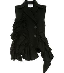 enföld sleeveless ruffled blazer - black