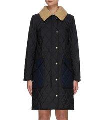 fleece collar check reversible quilted coat
