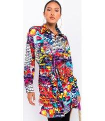 akira walking art long sleeve button up collared dress