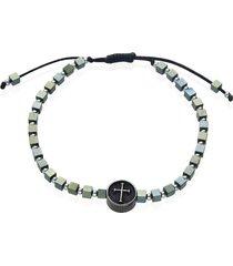 bracciale in corda e acciaio con ciondolo a croce verde per uomo
