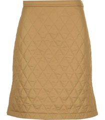 diamond quilted twill a-line skirt