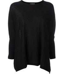 n.peal flared round-neck sweatshirt - black