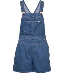 mom bib short jumpsuit blauw wrangler