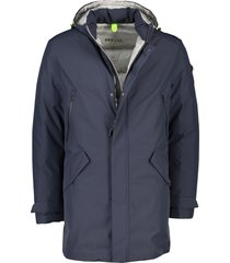 brax jas half lang donkerblauw afneembare capuchon