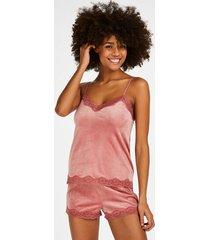 hunkemöller shorts i sammet och spets rosa