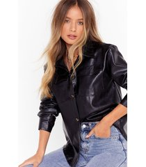 faux leather gonna give you up relaxed shirt