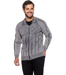 jaqueta officina do tricô espanha cinza