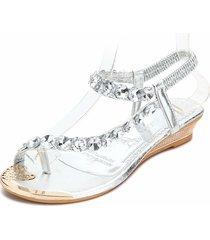 sandali con zeppa a clip toe con elastico di perline diamanti brillanti