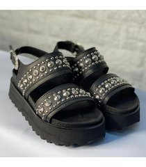 sandalia de cuero negra afrika  fénix
