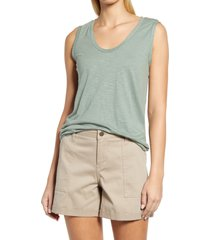 caslon(r) muscle tank, size medium in green dune at nordstrom