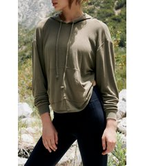 women's free people fp movement back into it cutout hoodie, size large - green