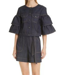 women's cinq a sept marisa topstitch denim jacket, size medium - blue