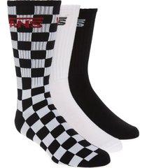 men's vans assorted 3-pack classic crew socks, size one size - black