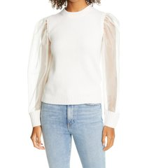 women's sea james organza puff sleeve wool sweater
