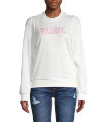 525 america women's peace puff-shoulder cotton sweatshirt - chalk - size m