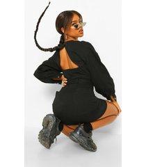 mini spijkerjurk met pofmouwen en ceintuur, black