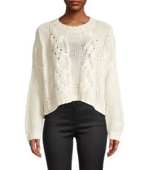 rd style women's cable-knit crewneck sweater - white beach - size l