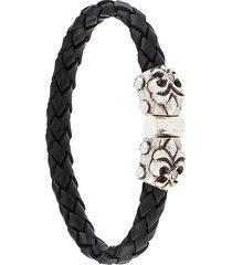 elf craft engraved shield bracelet - black