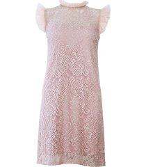 sukienka koronkowa z tiulową falbanką