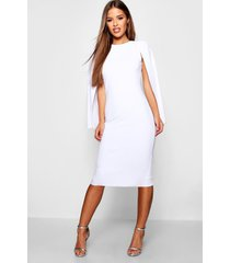 petite cape sleeve midi dress, white