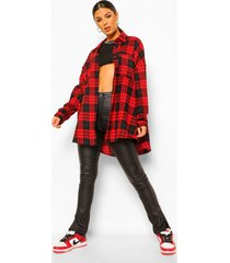 geruite oversized blouse, red