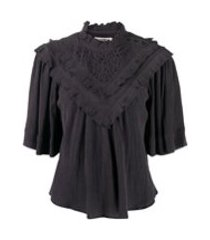 isabel marant étoile camiseta com bordado inglãªs e detalhe de babados - cinza
