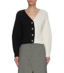 contrast v-neck cotton blend knitted cardigan