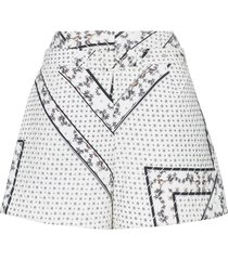 ganni elkhart quilted belted shorts - white