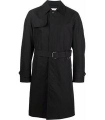 alexander mcqueen mid-length trench coat - black