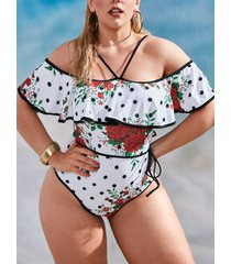 plus size rose print polka dot flounce one-piece swimsuit