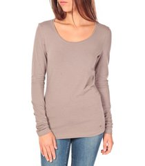 t-shirt lange mouw tom tailor lara stretch longsleeve taupe