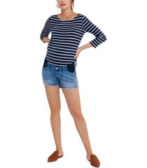 a pea in the pod luxe denim under-belly maternity shorts